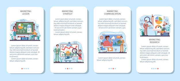 Conjunto de banner de aplicativo móvel do curso escolar de marketing educacional