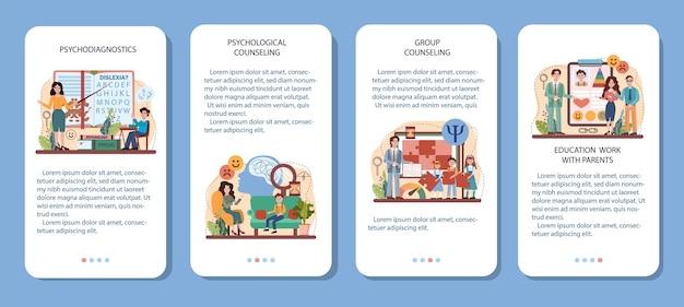Conjunto de banner de aplicativo móvel do curso escolar de psicologia. psicóloga escolar