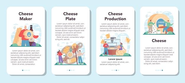 Conjunto de banner de aplicativo móvel do fabricante de queijos chef profissional
