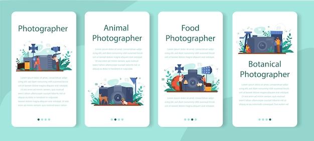 Conjunto de banner de aplicativo móvel do fotógrafo. fotógrafo profissional com câmera tirando fotos de pessoas, animais, alimentos. cursos de ocupação artística e fotografia.