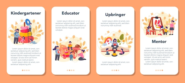 Conjunto de banner de aplicativo móvel do kindergartener