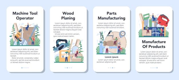 Conjunto de banner de aplicativo móvel do operador de produção de produtos de madeira