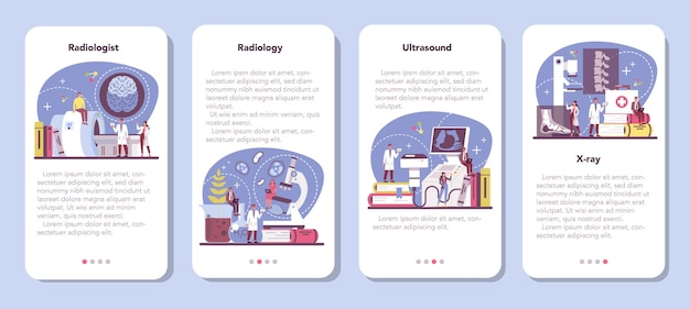 Conjunto de banner de aplicativo móvel do radiologista.