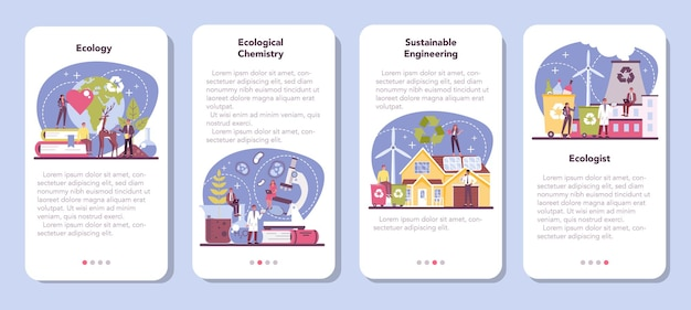 Conjunto de banner de aplicativo móvel ecologista. cientista cuidando da natureza e estudando meio ambiente ecológico.