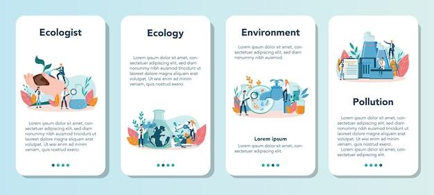 Conjunto de banner de aplicativo móvel ecologista. conjunto de cientista cuidando da ecologia e do meio ambiente. proteção do ar, solo e água. ativista ecológico profissional.