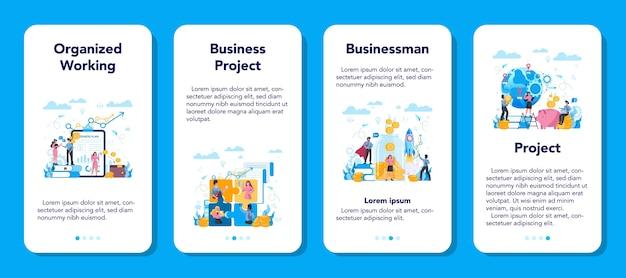 Conjunto de banner de aplicativo móvel empresarial. ideia de estratégia