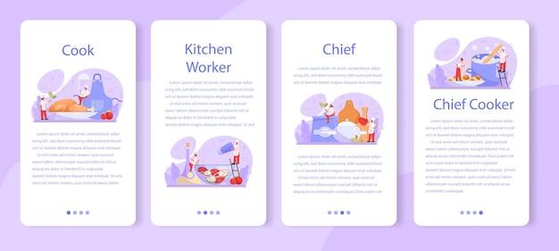 Conjunto de banner de aplicativo móvel especializado em culinária ou culinária