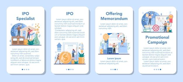 Conjunto de banner de aplicativo móvel especializado em ofertas públicas iniciais