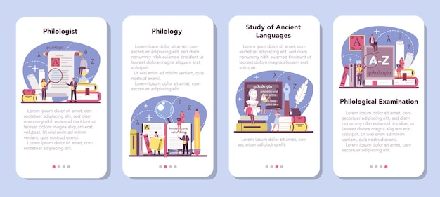 Conjunto de banner de aplicativo móvel filólogo. cientista profissional estudando uma estrutura de linguagem.