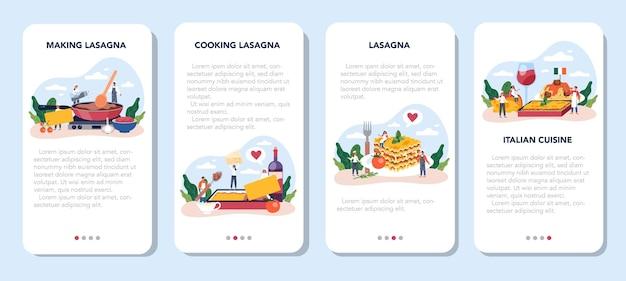 Conjunto de banner de aplicativo móvel lasanha saborosa. deliciosa cozinha italiana no prato. pessoas cozinhando queijo e carne para o jantar ou almoço.