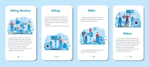 Conjunto de banner de aplicativo móvel miller e moagem. engenheiro de perfuração de metal com fresadora, fabricação de detalhes. tecnologia industrial.