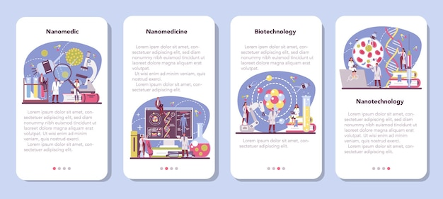 Conjunto de banner de aplicativo móvel nanomédico