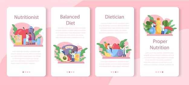 Conjunto de banner de aplicativo móvel nutricionista. plano de dieta com alimentação saudável e atividade física. controle de calorias e conceito de dieta.