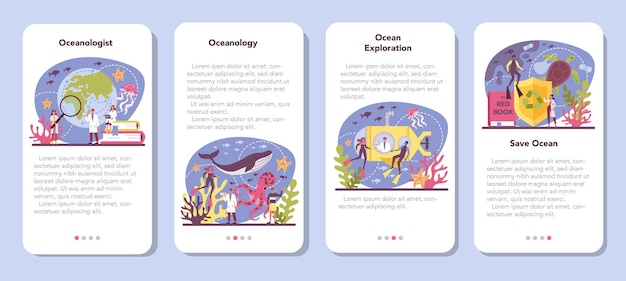Conjunto de banner de aplicativo móvel oceanologista