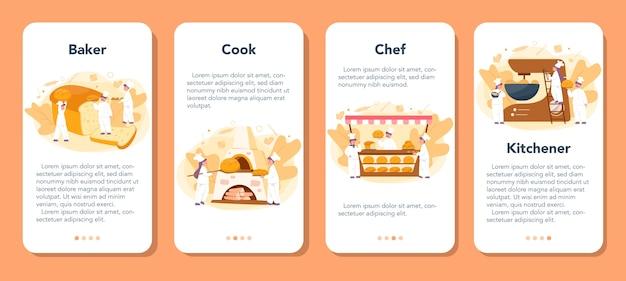 Conjunto de banner de aplicativo móvel padeiro e padaria. chef de uniforme assando pão. processo de cozedura de pastelaria.
