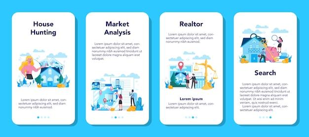 Conjunto de banner de aplicativo móvel para agente imobiliário ou corretor de imóveis qualificado