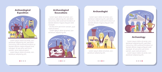 Conjunto de banner de aplicativo móvel para arqueólogo