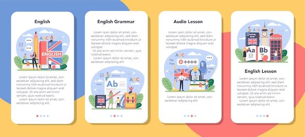 Conjunto de banner de aplicativo móvel para aula de inglês