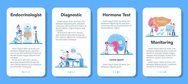 Conjunto de banner de aplicativo móvel para endocrinologista