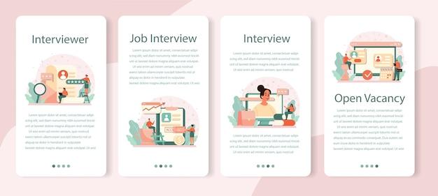 Conjunto de banner de aplicativo móvel para entrevista de emprego