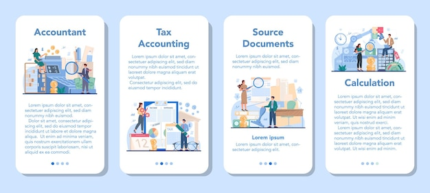 Conjunto de banner de aplicativo móvel para gerente de escritório de contabilidade