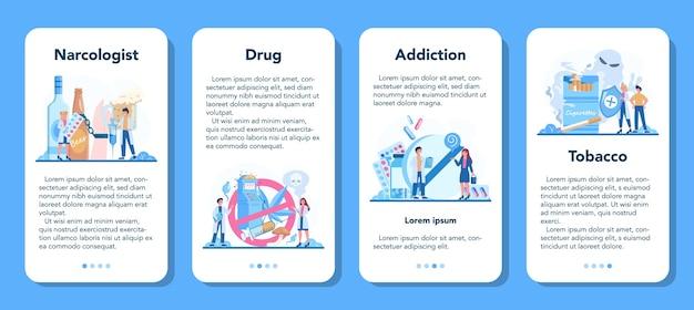 Conjunto de banner de aplicativo móvel para narcologista