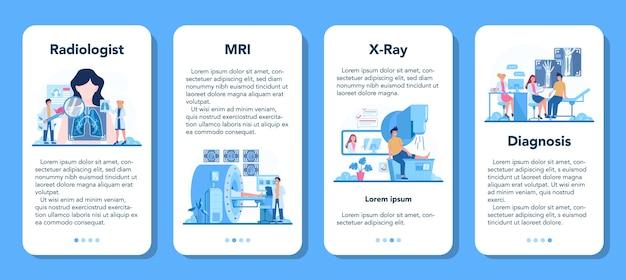 Conjunto de banner de aplicativo móvel para radiologista