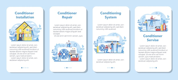 Conjunto de banner de aplicativo móvel para serviço de instalação e reparo de ar condicionado. reparador instalando, examinando e reparando o condicionador com ferramentas e equipamentos especiais. ilustração vetorial isolada