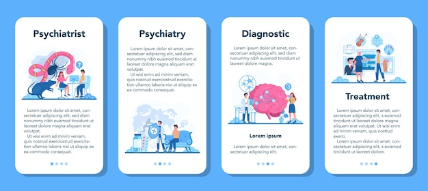 Conjunto de banner de aplicativo móvel psiquiatra