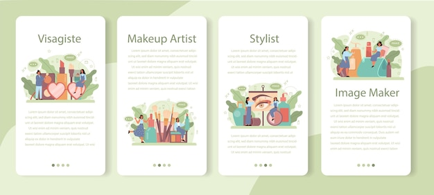 Conjunto de banner de aplicativo móvel visagiste. conceito de serviço de centro de beleza. mulher aplicando cosméticos no rosto. artista de maquiagem.