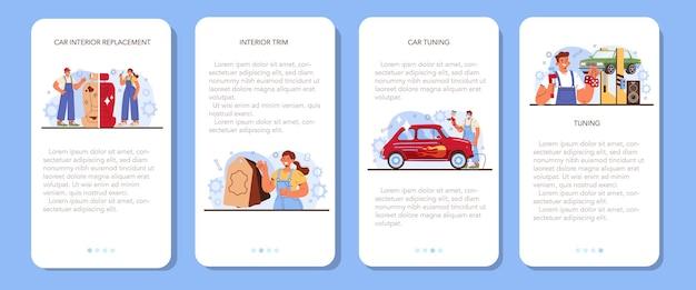 Conjunto de banner de aplicativo para celular de ajuste de carro, interior de automóvel foi substituído