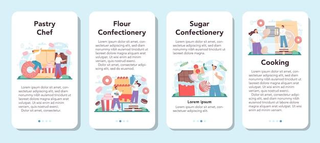 Conjunto de banner de aplicativo para celular de confeiteiro. chef de confeitaria profissional