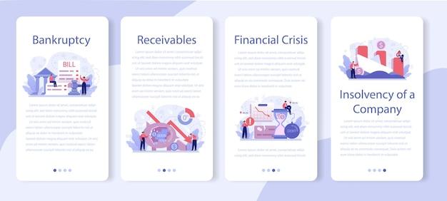 Conjunto de banner de aplicativo para celular de falência