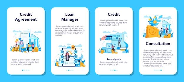 Conjunto de banner de aplicativo para celular de gerente de empréstimo
