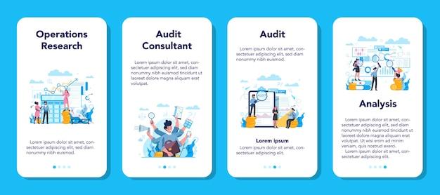 Conjunto de banner de auditoria de aplicativo móvel. pesquisa e análise de operações de negócios. inspeção e análises financeiras.