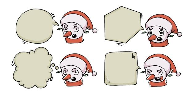 Conjunto de banner de bate-papo de bolha de boneco de neve de natal