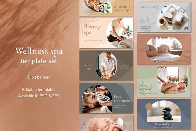 Conjunto de banner de blog de vetor de modelo de banner de spa de bem-estar
