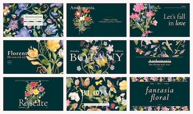 Conjunto de banner de blog de vetor de modelo floral editável