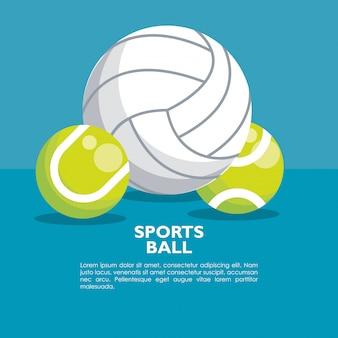Conjunto de banner de bolas de esportes