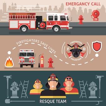 Conjunto de banner de bombeiro