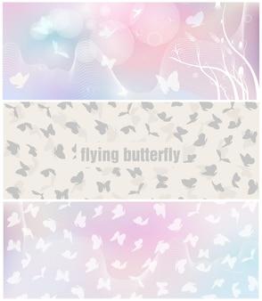 Conjunto de banner de borboleta.