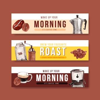 Conjunto de banner de café da manhã
