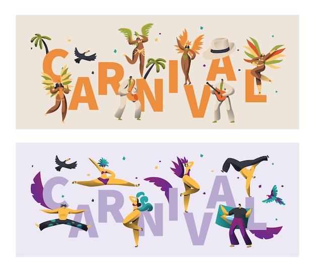 Conjunto de banner de carnaval de fantasia de penas do brasil.