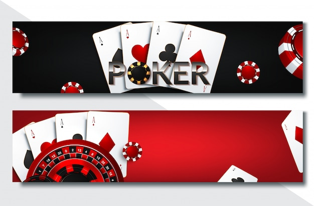 Conjunto de banner de cassino com fichas de cassino e cartões, poker club texas holdem