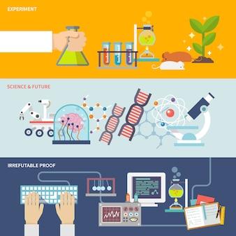 Conjunto de banner de ciência e pesquisa