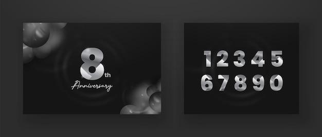 Conjunto de banner de comemoração de aniversário de número de prata em fundo escuro com numeração editável