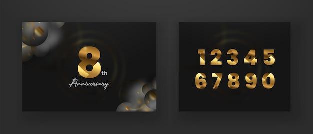 Conjunto de banner de comemoração de aniversário de número dourado em fundo escuro com numeração editável