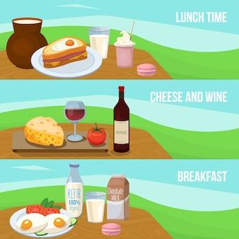 Conjunto de banner de comida de leite