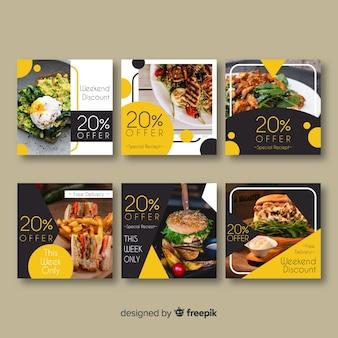 Conjunto de banner de comida fotográfica quadrada
