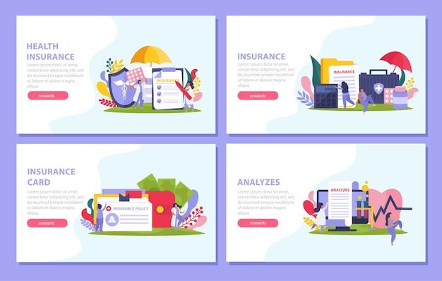 Conjunto de banner de conceito de seguro saúde